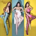 Fragante! Sexy brillante brillante conformación cintura abertura entre las piernas Polainas pantimedias calcetines de seda calcetines Taiwán Danza