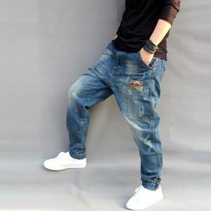 Image 4 - Mens Jeans Casual Joggers Plus Size Hip Hop Harem Denim Pants Camouflage Patchwork Quality Trousers Blue Jeans Male Clothes