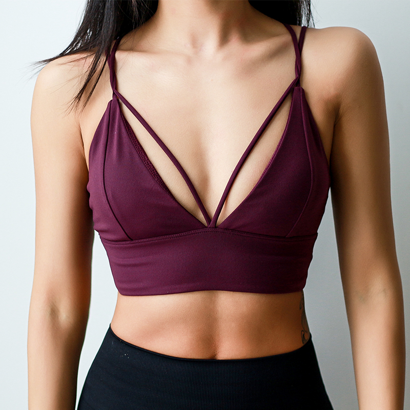Oyoo Women's Strappy Back Padded Purple Sports Bras Red Workout Running Yoga Bra Sexy Crop Top V line Fitness Bra Gym Apparel недорго, оригинальная цена