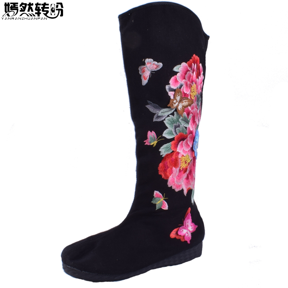 Women Boots Autumn New Floral Embroidery Old Beijing Canvas Butterfly Peony Embroidered Women Canvas Cloth High Single Boots ...