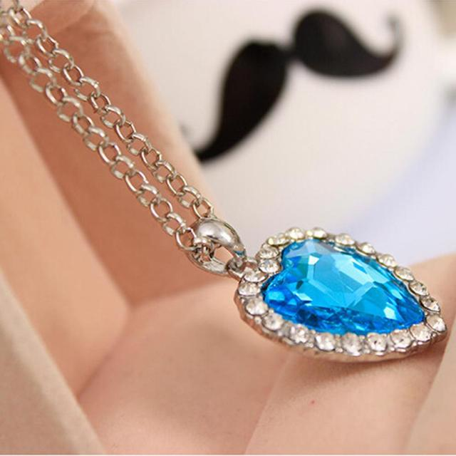 Crystal Heart Of The Ocean Necklace  dainty necklaces for girlfriend