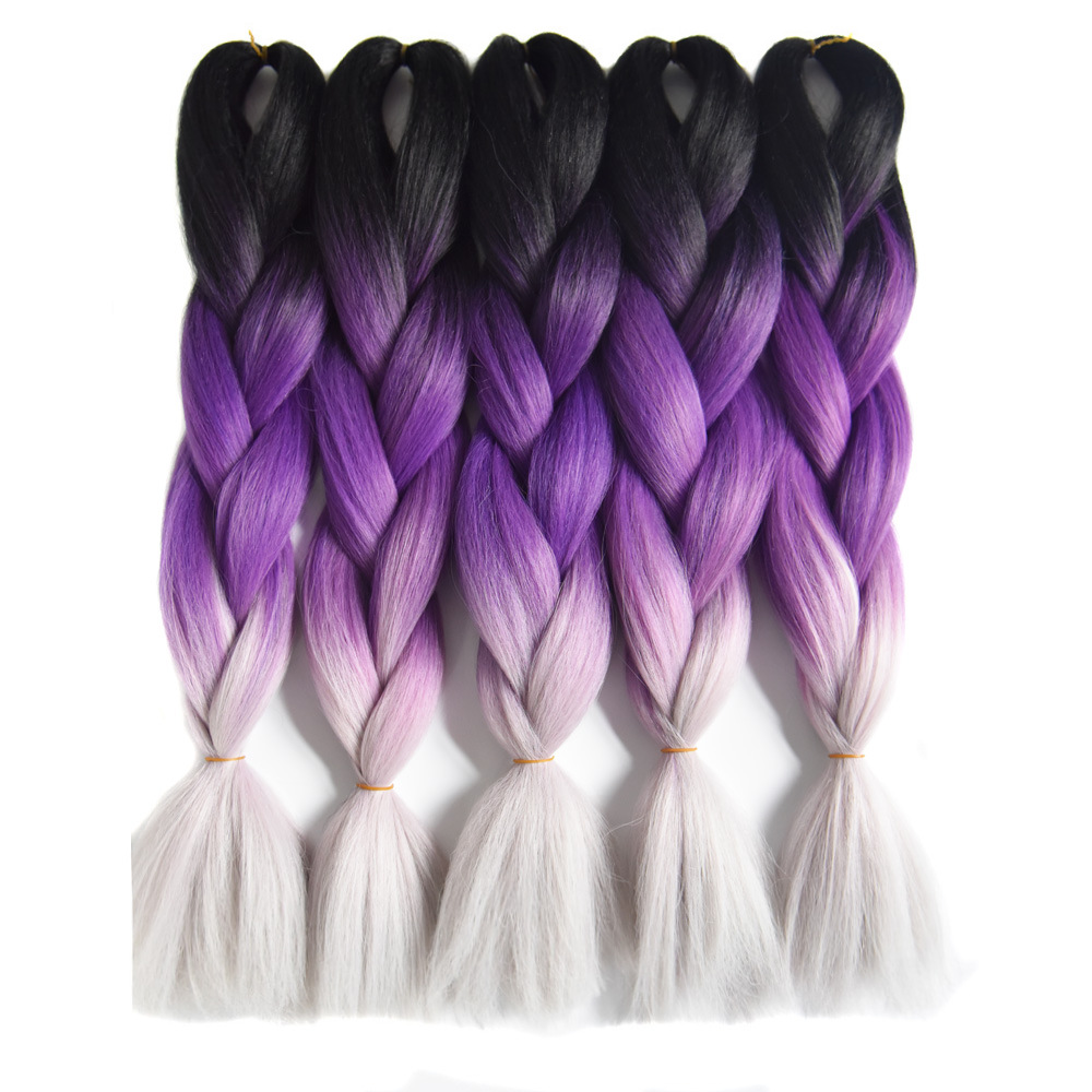 Sallyhair 24inch Ombre 3 Tone Black Purple Silver Grey Color  Synthetic Braiding Hair Extension