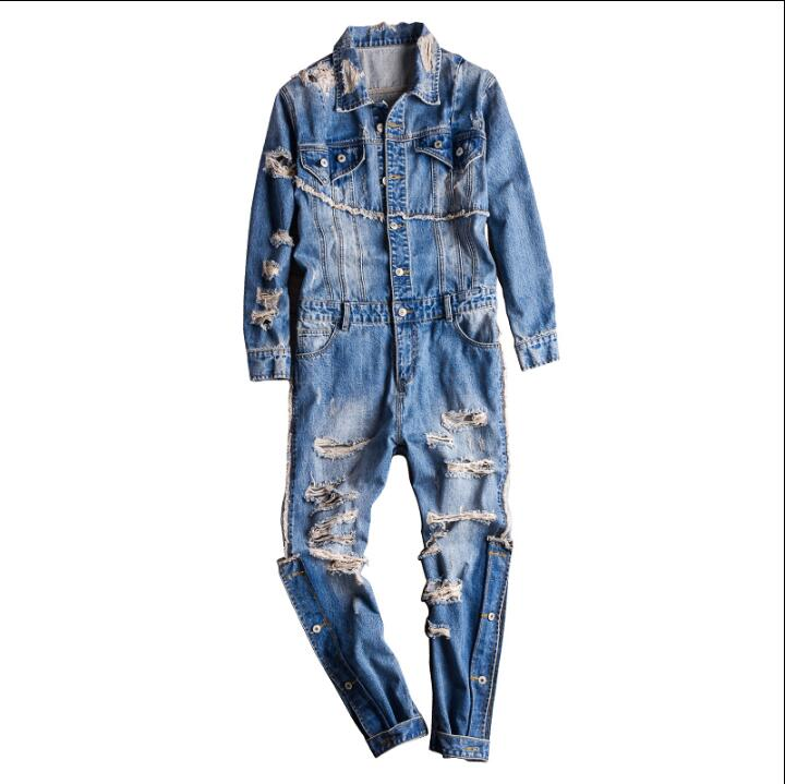 M-XXXL 2019 New European And American Retro Fashion Denim Jumpsuit Male Hip Hop Hole Jeans Trend Casual Tooling Jumpsuit