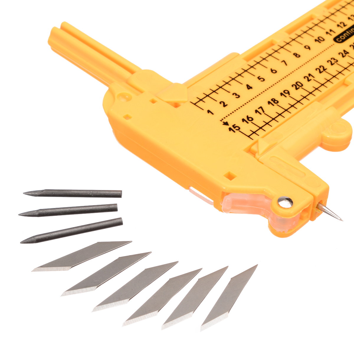 Yellow Plastic Circle Cutter Paper Leather Compass Circle Cutter 1 30cm with 6pcs Spare Blades 3pcs Leads DIY Cutting Tool in Knives from Tools