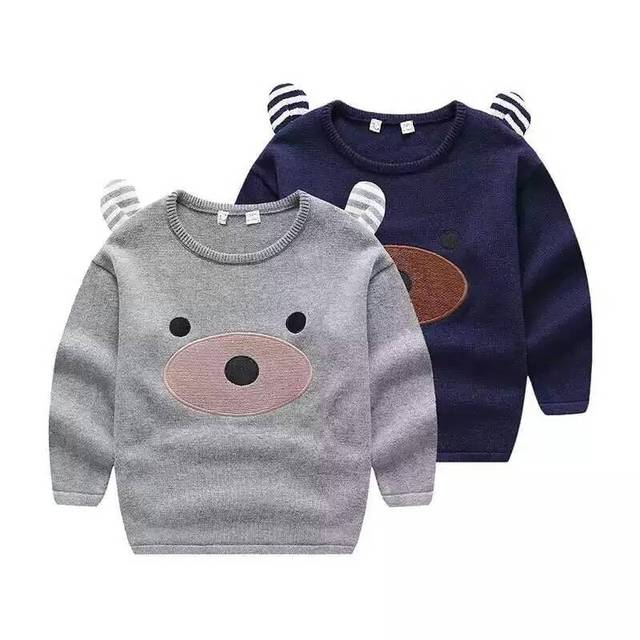 New Baby Stereo ear Sweater small Boys cartoon knitting pullover sweater wholesale