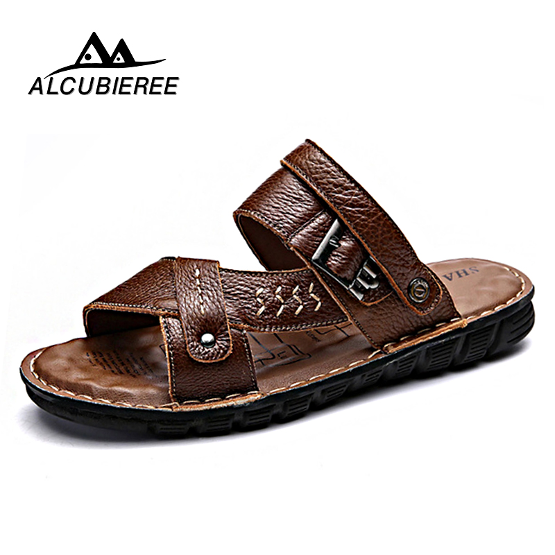 New Summer Genuine Split Leather Sandals Beach Shoes Men Outdoor Slippers Casual Sandals Summer Leather Flip Flops Big Size 2018 mmnun 2017 boys sandals genuine leather children sandals closed toe sandals for little and big sport kids summer shoes size26 31