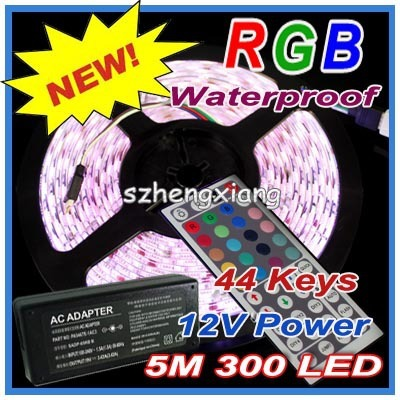 Best Price!!! Flexible SMD LED Strip Light Lighting RGB 5050 300LEDS 5m 500cm Waterproof +  44 Keys IR Remote Controller + Power