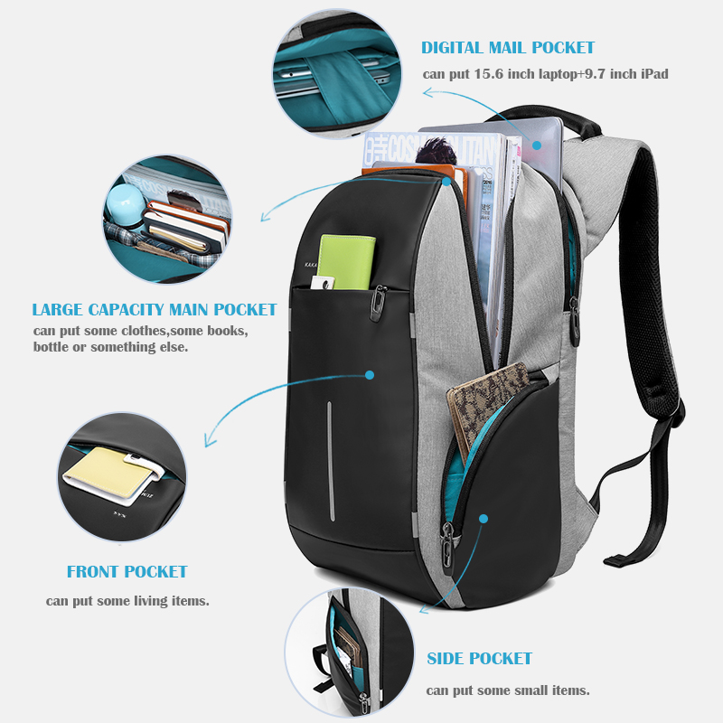 KAKA Rugzak Brand Design USB Charging Men Backpack 15 inch Laptop Bag Backpack Male Waterproof Schoolbag Backpack Mochila 4