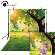 цены на Allenjoy photographic spring backdrops green tree sunshine nature background photography photocall photophone for photo shoots  в интернет-магазинах