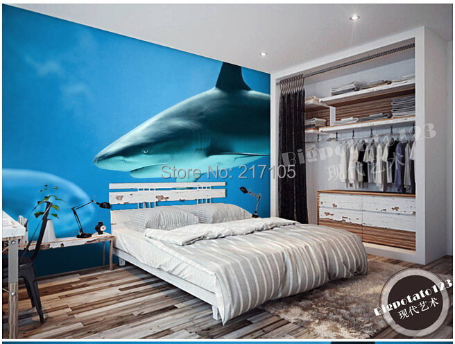 Custom photo wallpaper shark  for the living room bedroom TV setting wall Papel de parede custom photo wallpaper papel de parede forest scenery for the sitting room sofa setting wall vinyl bedroom which wallpaper