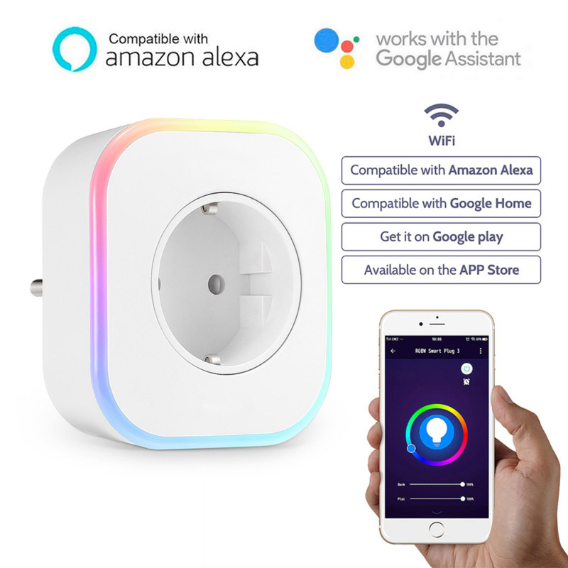 New Smart Plug RGB LED Light WiFi Outlet Socket UK EU Remote Control Plug For Google Home Mini Alexa Smart Timing Switch Work