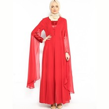 Advondjunk 2017 Robe De Soiree Muslim Special Long Sleeve Hijab Long Evening Dress Red Muslim Evening Dresses