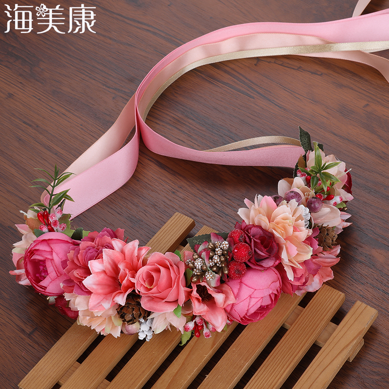 Haimeikang Summer Wedding Floral Crown Head Band Kids Party Wreath Floral Garlands Ribbon Adjustable Flower Crown Rose For Women