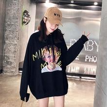 Ulzzang Harajuku Kawaii Karakter Grafis Cetak Hoodies Wanita Musim Gugur  Korea Fashion Longgar Pullover Berkerudung Sweatshirt c6ffa79800