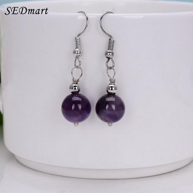 Sedmart Handmade Simple Natural Semi Precious Stone Dangle Earrings White Bead Drop Women Gift