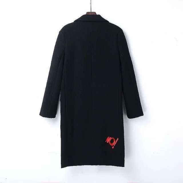 US $40.77 50% OFF|OLGITUM Wintermantel Frauen Kleine Nette Stickerei Lange Wolle Frauen Mantel Jacke Damen Mäntel Jacke WC049 in Wolle & Mischungen