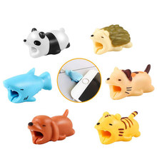 1PC Cartoon Cable Winder Bite USB Charger Data Cable Cord Protector Charging line Cover Cute Animal For iPhone For Samsung(China)