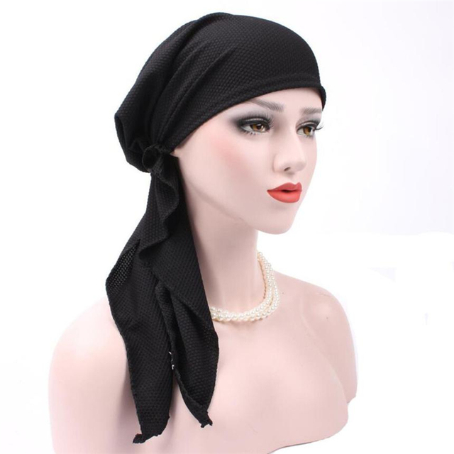 Casual Women India Muslim Stretch Turban Hat Cotton Hair Loss Head Scarf  Wrap cancer hats   caps men Skullies Beanies hat 12cc2525ec88
