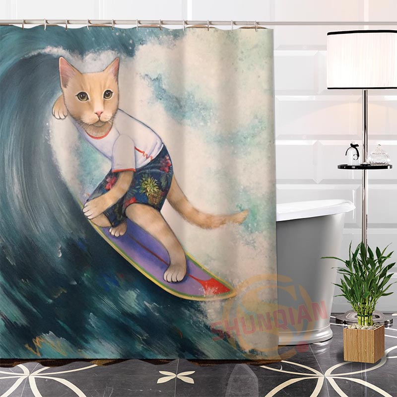 Best Nice Eco-friendly Custom Unique funny CAT #4 Fabric Modern Shower Curtain bathroom Waterproof for yourself H0220-106