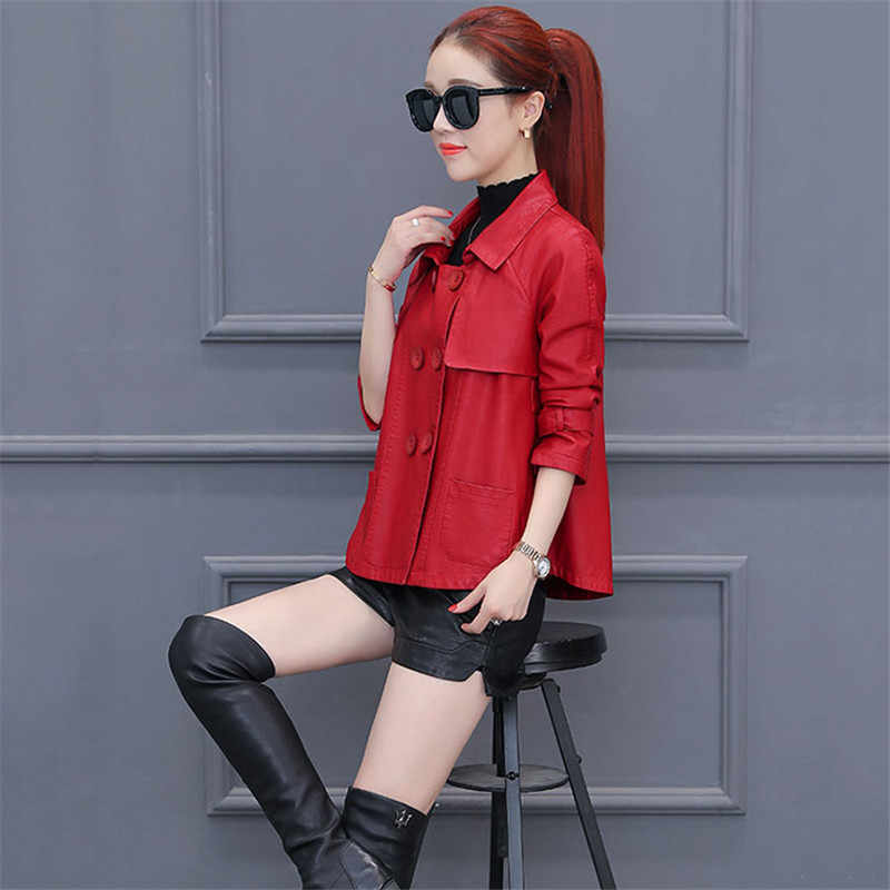 Women Leather Jacket 2018 Spring Large size Short PU leather Coat Loose Temperament Outerwear Double breasted Lady Leather DT114