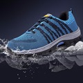 Malha aérea Homens Botas de Biqueira de Aço Sapatos de Segurança do Trabalho Para O Anti-Esmagamento Anti-Punctura Resistente Respirável Protetora calçado