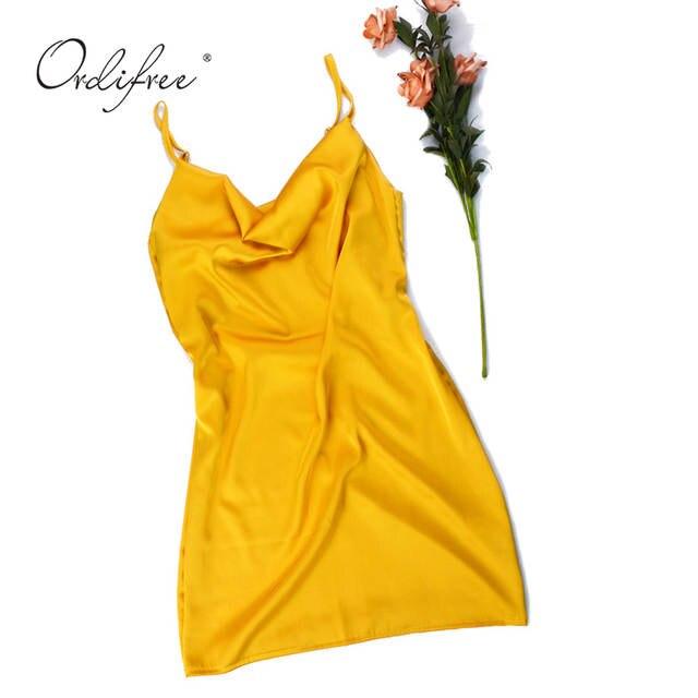 eeab6abc02b26 US $13.2 40% OFF|Ordifree 2019 Summer Women Silk Mini Dress Spaghetti Strap  Backless Short Satin Slip Dress-in Dresses from Women's Clothing on ...