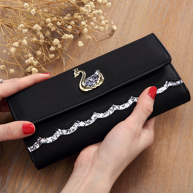 Fashion Women Wallet Swan Sequin Lovely Long Womens Wallets And Purses Card Holder High Quality Pu Leather Phone Clutch Female