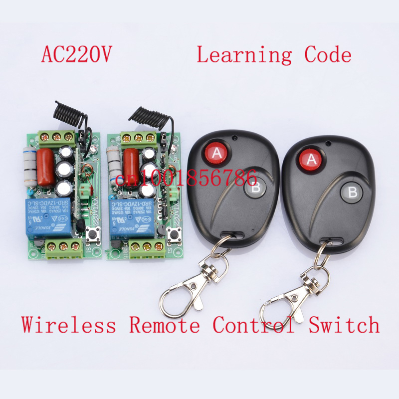 220V 1CH 10A Receiver & Transmitter  RF Wireless Remote Switch Momenrary Toggle Latched Adjustable 2PCS/LOT wireless remote control light switch ac 220v 110v relay module 3 receivers transmitter momenrary toggle latched 315mhz