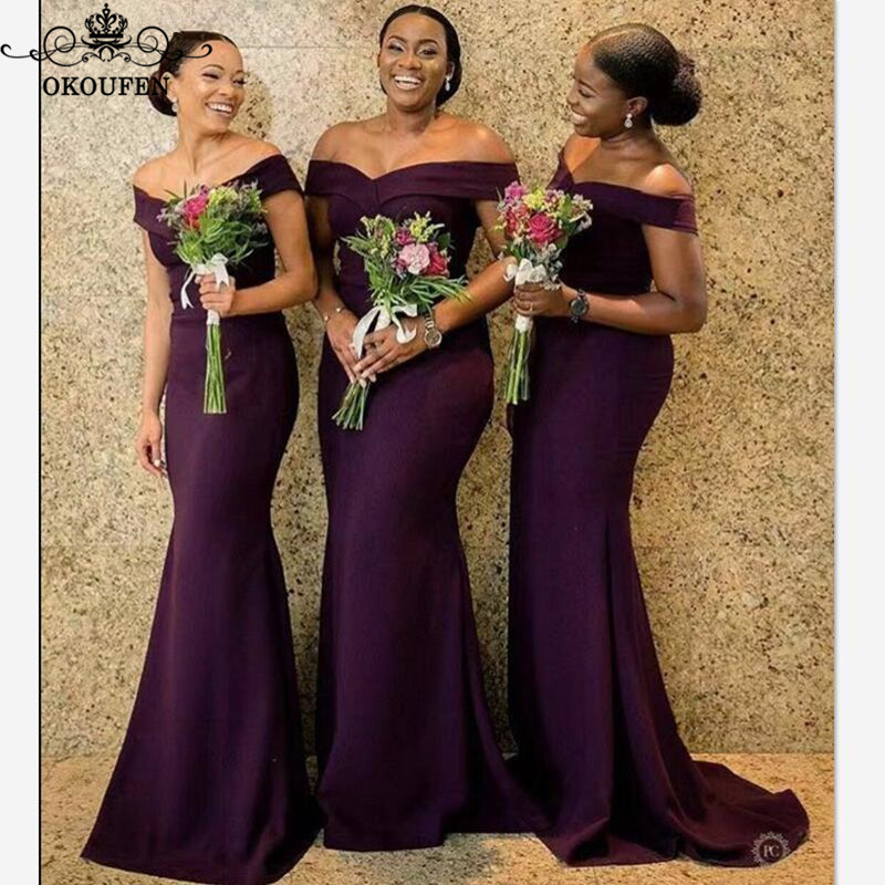 Purple Mermaid Bridesmaid Dresses 2020 African Women Off Shoulder Vestidos Long Sweep Train Wedding Party Dress Formal