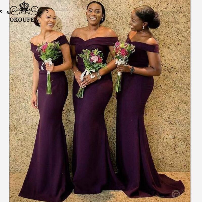 Purple Mermaid Bridesmaid Dresses 2020 African Women Off Shoulder Vestidos Long Sweep Train Wedding Party Dress Formal