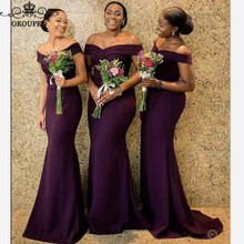 Purple Mermaid Bridesmaid Dresses 2020 African Women Off Sho