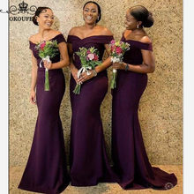 fabaa82d861 Sexy Off Shoulder Bridesmaid Dresses 2019 Wholesale Price Purple Satin Long  Mermaid Maid Of Honor Dress For Women Lace Up Back
