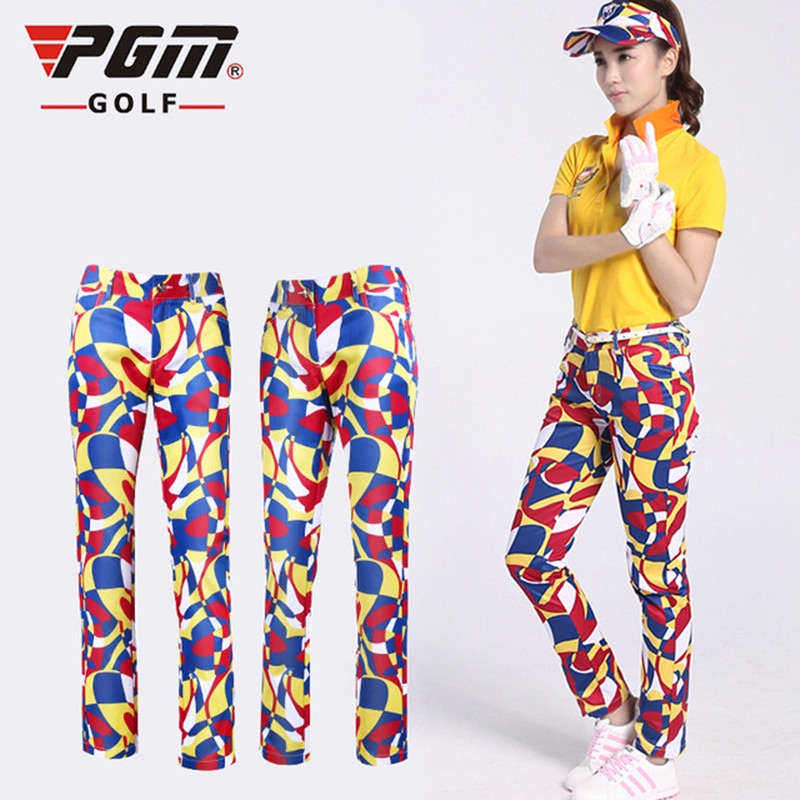 2017 Rushed Jl Golf 2017new Pgm Golf Pants Women's High-elastic Slim Breathable Stylish Print Unique Style Soft And Comfortable stoosh new turquoise juniors geo print soft pants s $39 dbfl