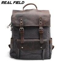 Real Field Vintage Fashion Backpack Leather Military Canvas Backpack Men Backpack Preppy School Bag Bagpack Rucksack