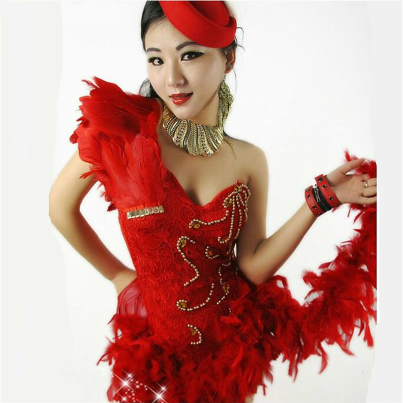 Nightclub New Dj Female Singer Stage Sexy Bodysuit Feather Lace Perspective Bar Ds Performance Clothing Jazz Costumes For Women