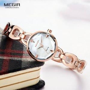 Image 1 - Relogio feminino Women Watches MEGIR Luxury Brand Girl Quartz Watch Casual Leather Ladies Dress Watches Women Clock Montre Femme