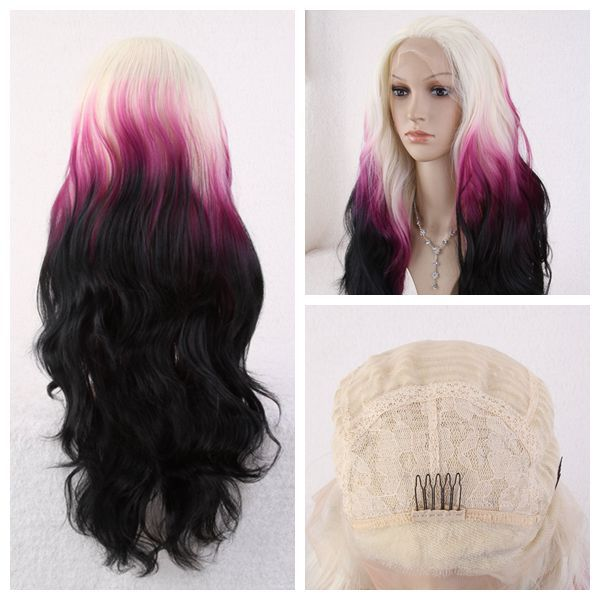 Synthetic Lace Front Wig Heat Resistant Kanekalon Hair Ombre Natural