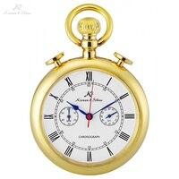 KS Retro Golden Carving Case Stopwatch Function Roman Numerals Clip Fob Chain Men Quartz Movement Pocket