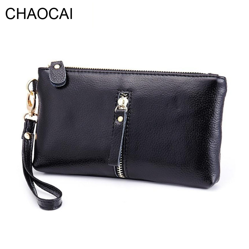 Genuine leather women wallet fashion girl cowhide leather purse clutch money clips with wrist new design