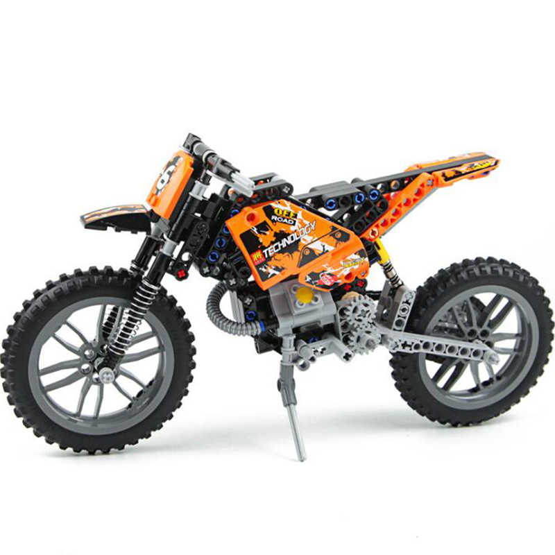 253pcs technic series motorcycle building block machinery group motocross bicks 2 in 1 motorcycle model Toys For Children Gift