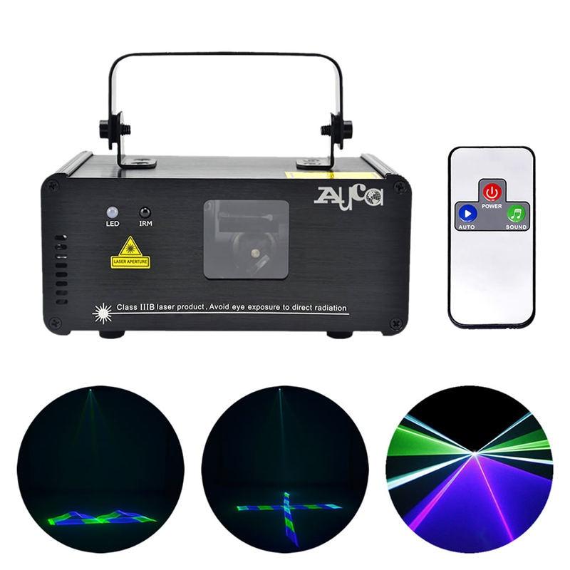 Mini 250mw zelená modrá azurová laserová čtečka GBC 8 CH DMX bezdrátová vzdálená zvuková DJ party pro párty Home Show Stage Lighting 3D-GBC250