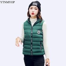 YTNMYOP Brands Short Down Cotton Vest Winter Women Sleeveless Jacket Slim Female Coat Green Thicken Casaco Hooded Girls Vests