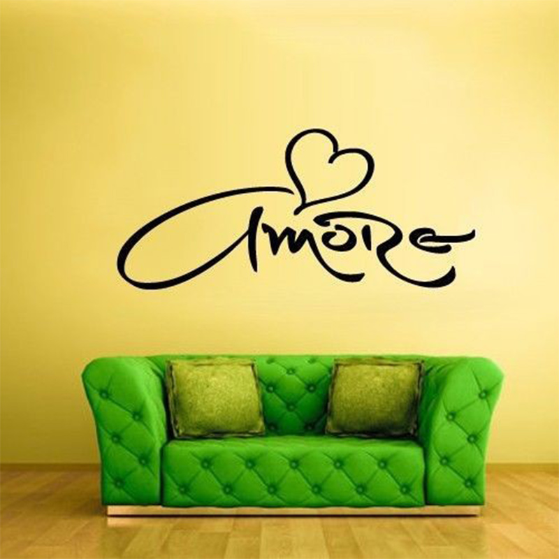 Amore Love Heart Wall Decal Vinyl Sticker,Italian Language Wall ...