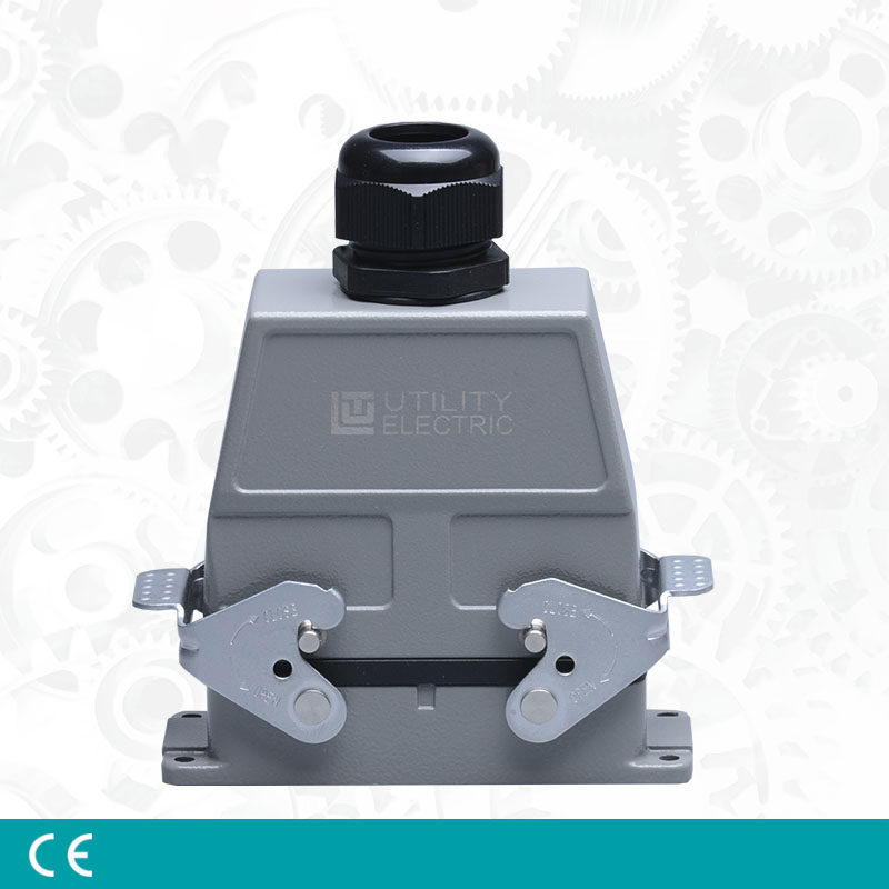 цена на Heavy Duty Connectors HE-16/24 16pin 16A 250V 6 pin side outlet Industrial Rectangular Aviation Connector Plug