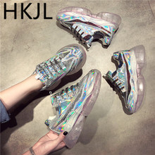 HKJL 2019 spring sequins old shoes female muffin bottom with sneakers thick wedges mesh A602