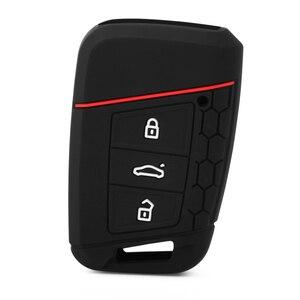 Image 3 - 1Pc voiture télécommande housse de clefs en Silicone pour VW TIGUAN MK2 Passat B8 pour Skoda superbe A7 Kodiaq clé couverture clé Fob poche coque peau