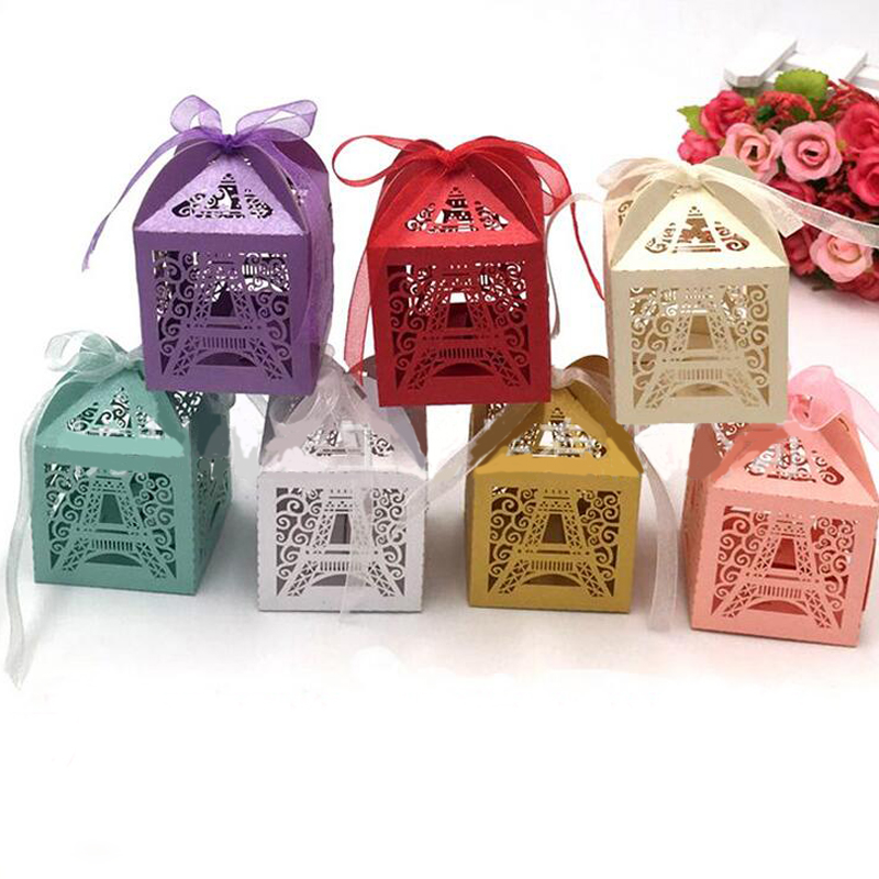 50pcs Wedding Candy Box Chocolate Packaging Paris Eiffel Tower Personalized Wedding Box Marriage Favors And Gifts Baby Shower
