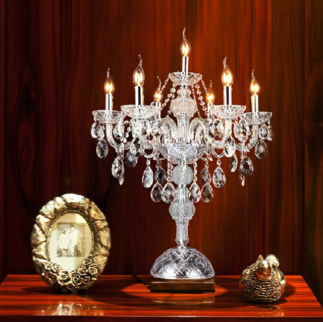 Chrome Restaurant Crystal Table Lamps Wedding Led Candle Holders Work Table  Light Antique Large Crystal Candlestick