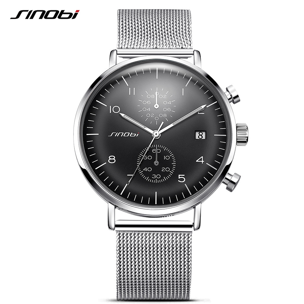 SINOBI New Business Watch Mænd Mesh Strap Armbåndsur Luminous Pointer Watches Relogio Masculino Fashion Brand Chronograph Watch