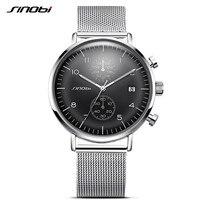 SINOBI New Business Watch Men Mesh Strap Wristwatch Luminous Pointer Watches Relogio Masculino Fashion Brand Chronograph
